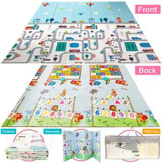 ToddlerFinest Foldable Baby Play Mat Reversible Playmat(Car)
