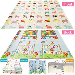 ToddlerFinest Foldable Baby Play Mat Reversible Playmat(Uni)