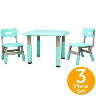 ToddlerFinest Adjustable Height Kids Table 2 Chairs Set (B)