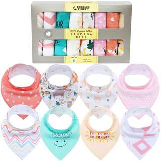 ToddlerFinest 8-Pack Baby Bandana Drool Bibs - Cotton (Girl)