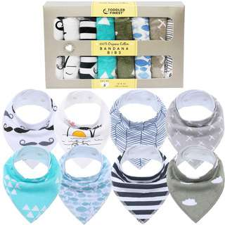 ToddlerFinest 8-Pack Baby Bandana Drool Bibs - Cotton (All)