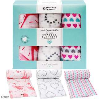 ToddlerFinest 3-Pack Cotton Muslin Baby Swaddle Blanket (G)