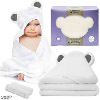 ToddlerFinest Baby Bamboo Hooded Bath Shower Towel (Grey)