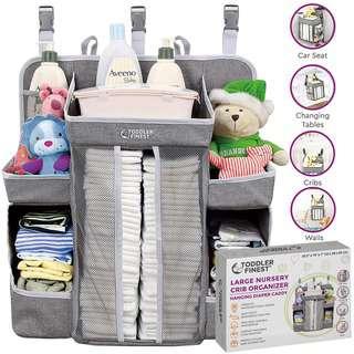 ToddlerFinest Baby Hanging Crib Organizer Diaper Storage (L)