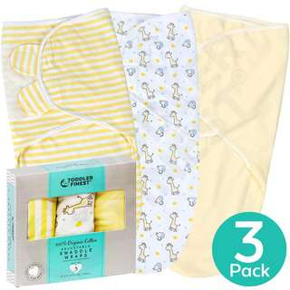 ToddlerFinest 3-Pack Baby Cotton Swaddle Blanket Wrap (Ylw)