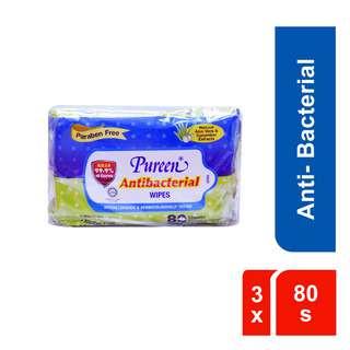Pureen Hygiene Wipes 3x80's - Antibacterial