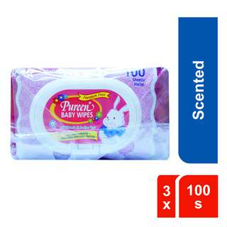 Pureen Pink Scent Baby Wipes 3 x 100s