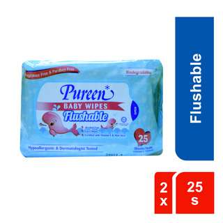 Pureen Baby Wipes 2X25's - Flushable