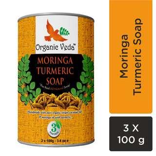 Organic Veda Moringa Turmeric Soap (3 x 100 Grams) / 3.4 oz e.