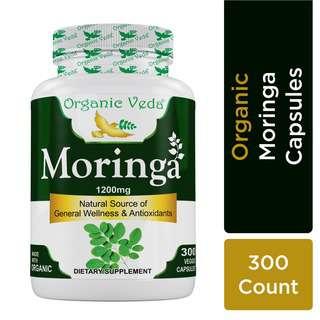 Organic Veda Moringa Leaf 300 Veg Capsules