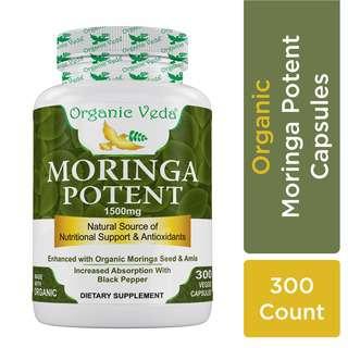 Organic Veda Moringa Potent 300 Veg Capsules