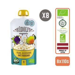 Rudolfs Baby Organic Pear Blueberry Oat Porridge x8