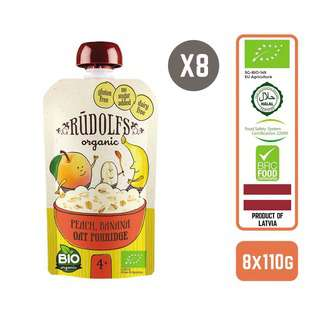Rudolfs Baby Organic Peach Banana Oat Porridge x8