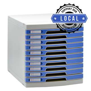 ALFAX 610 10 Drawer Tray with Lock Blue