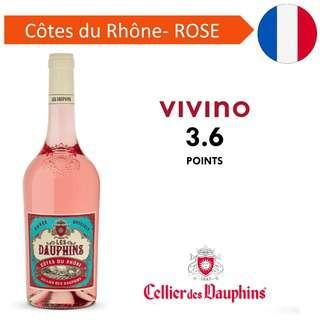 Les Dauphins Cote du Rhone Rose - Rose Wine