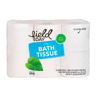 Field Day 100% Recycled 2-ply Double Roll Bath Tissue
