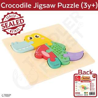 ToddlerFinest 3D Wooden Kids Jigsaw Puzzle Toys (Crocodile)