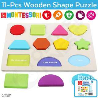 ToddlerFinest Wooden 11pcs Shape Puzzle Color Baby Kids Toy