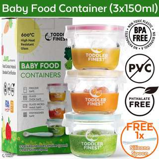ToddlerFinest Baby Food Storage Glass Container Spoon 150ml