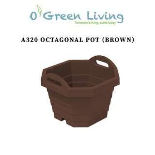 Organic Green Living (OGL) A320 Octagonal Pot- Brown