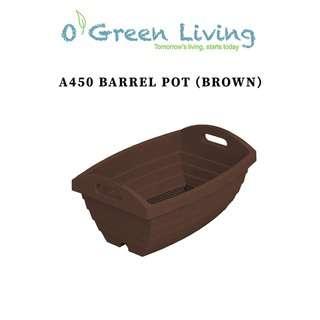 Organic Green Living (OGL) A450 Barrel Pot- Brown