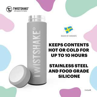 Twistshake Hot Or Cold Bottle 420ml Pastel Grey