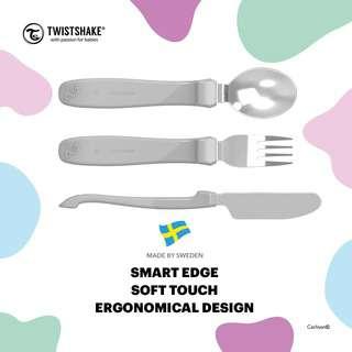 Twistshake Learn Cutlery Stainless Steel 12+M Pastel Grey