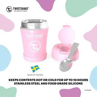Twistshake Insulated Food Container 350ml Pastel Pink