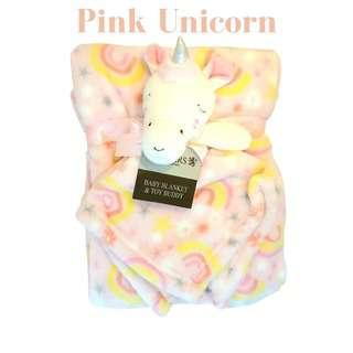 Shears Blanket Fleece Blanket with Toy Buddy Pink Unicorn