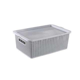 HOUZE Medium Braided Storage Basket with Lid - Grey