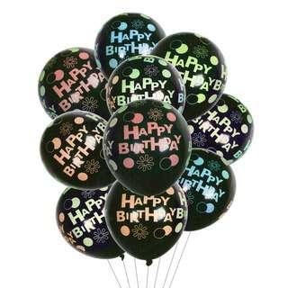 HOUZE Happy Birthday on Black Balloons (Set of 10)