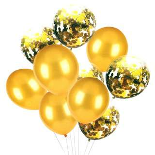 HOUZE Gold with Glitters Balloons (Set of 10)
