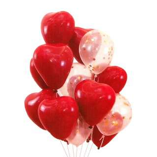 HOUZE Red And Clear Glitters Heart Shape Balloons (Set of 10)