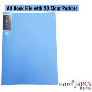 Nomi Japan A4 Book File with 20 Clear Pockets Blue Color
