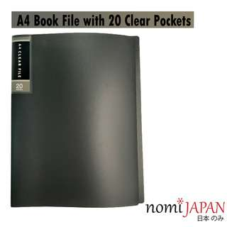 Nomi Japan A4 Book File with 20 Clear Pockets Dark Grey