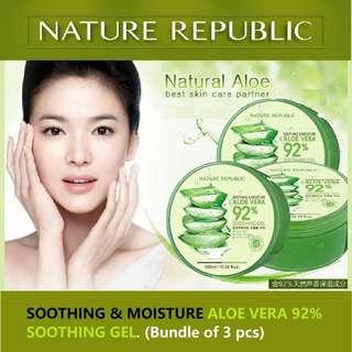 Nature Republic Bundle of 3 ALOE VERA 92% Soothing Gel