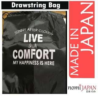 Synaps Japan Unisex Drawstring Bag with Handle Black