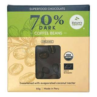 Nature's Superfoods Organic Dark Chocolate (70%) Coffee Beans