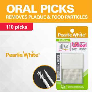 Pearlie White Oral Pick 2-Way Plastic Tooth Picks + Container