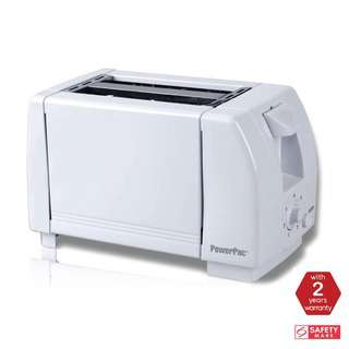 POWERPAC (PPT02) 2 Slice Bread Toaster Pop-Up