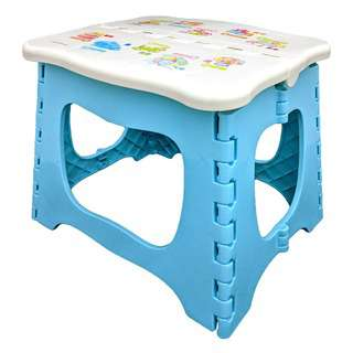 KJB Little Genius Plastic Foldable Stool 23cm (Blue)