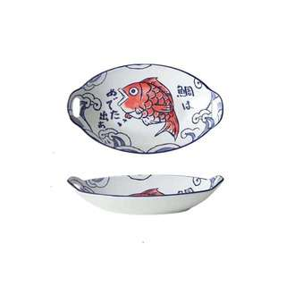 Table Matters Red Tai - 11 inch Oval  Baking Dish With Handle