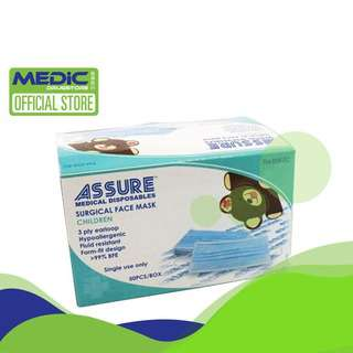 Assure Children Surgical Face Mask 50s BFE >99%