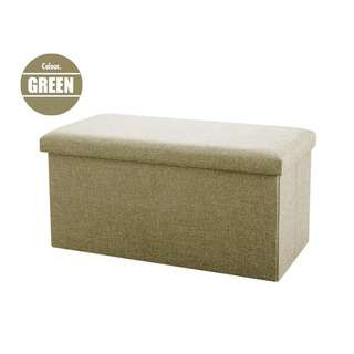 HOUZE Foldable Fabric Storage Stool/Ottomans - Green