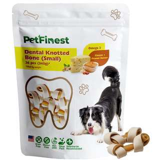 Petfinest Dog Dental Knotted Bone S(Cheese & Peanut Butter)