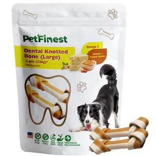 Petfinest Dog Dental Knotted Bone L(Cheese & Peanut Butter)