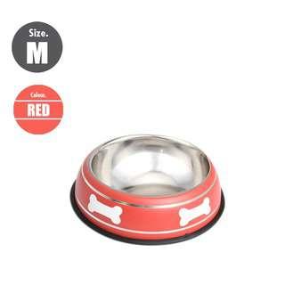 Nunbell 22cm Pet Steel Bowl - Red
