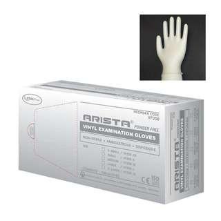 Arista White Vinyl Examination Powder-Free Gloves Size S Box