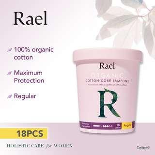 Rael Regular Organic Cotton Tampons Compact Applicator 18s