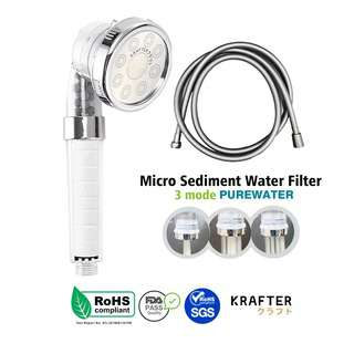 Krafter High Pressure Filter Showerhead with 1.5m Hose -Silve